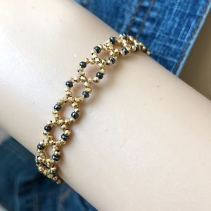 14K Yellow Gold Beads Geometric Bracelet